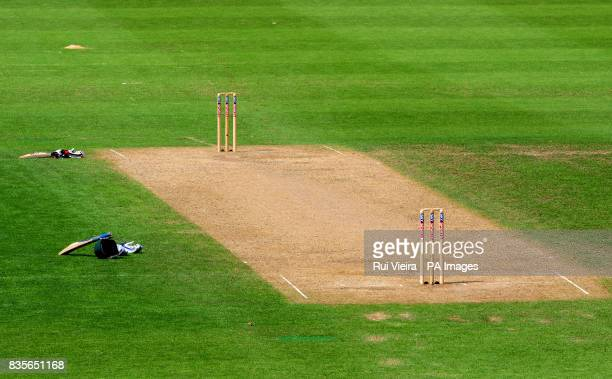 View of an empty crease during the International Tour match at New Road, Worcester.