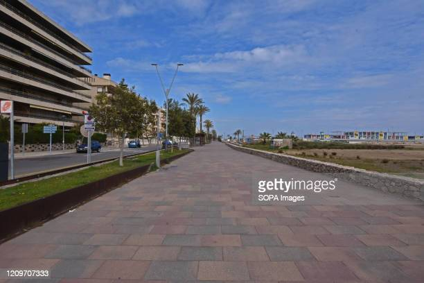 A view of an empty empty Calafell beach street during the Easter holiday amid coronavirus crisis The City Council of Calafell blocked some roads from...