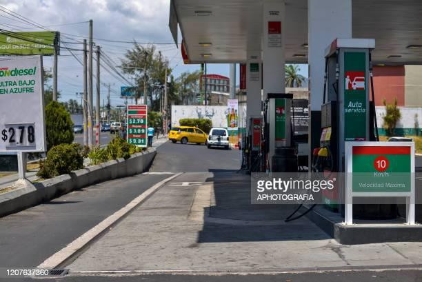 View of an empty gas station on March 18 2020 in San Salvador El Salvador Despite no cases of COVID19 have been confirmed in El Salvador it's...