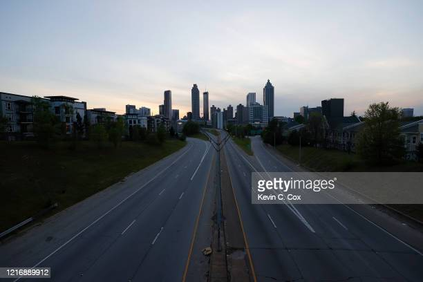 View of an empty John Lewis Freedom Parkway into downtown Atlanta from Jackson Street Bridge on April 4, 2020 in Atlanta, Georgia. Georgia Gov. Brian...