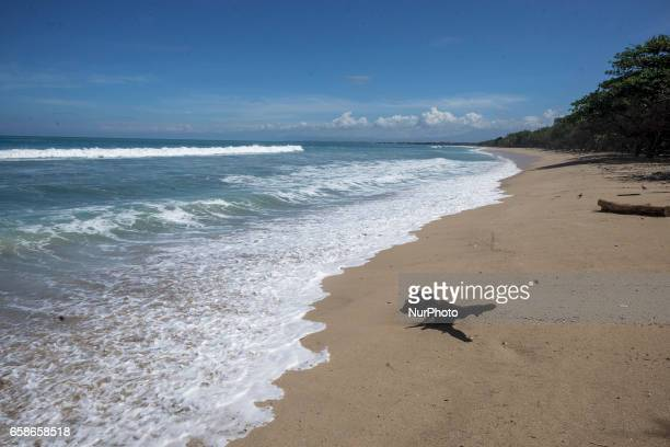 A view of an empty Kuta Beach in Bali Island Indonesia during Hindu's Silence Day of Nyepi on March 28 2017 Nyepi or Silence Day is annually to...