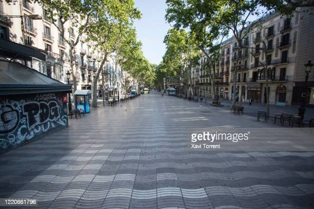 View of an empty Las Ramblas due to the national emergency caused by COVID-19 during Sant Jordi's day on April 23, 2020 in Barcelona, Spain. COVID-19...