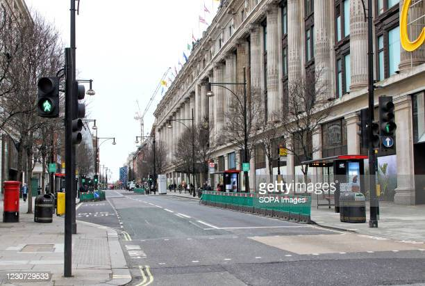 View of an empty Oxford Street. England remains under lockdown as the Prime Minster Boris Johnson refuses to rule out that it may continue past...