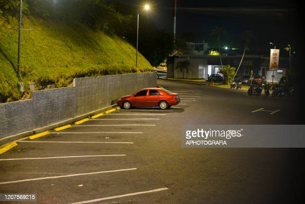 View of an empty parking lot inside a shopping mall on March 17 2020 in San Salvador El Salvador Despite no cases of COVID19 have been confirmed in...