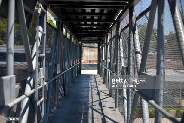 View of an empty pedestrian bridge on March 18 2020 in San Salvador El Salvador Despite no cases of COVID19 have been confirmed in El Salvador it's...