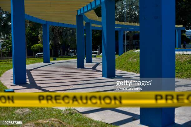 View of an empty plaza as most public places have been shut down on March 18 2020 in San Salvador El Salvador Despite no cases of COVID19 have been...