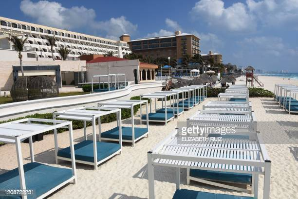 View of an empty resort in Cancun Quintana Roo state Mexico on March 28 2020 A significant drop in the number of tourists is registered in Mexico's...