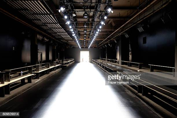 A view of an empty runway at Moynihan Station seen around Fall 2016 New York Fashion Week Day 0 on February 10 2016 in New York City