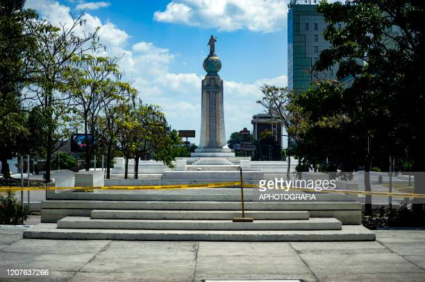 View of an empty square as most public places have been shut down on March 18 2020 in San Salvador El Salvador Despite no cases of COVID19 have been...