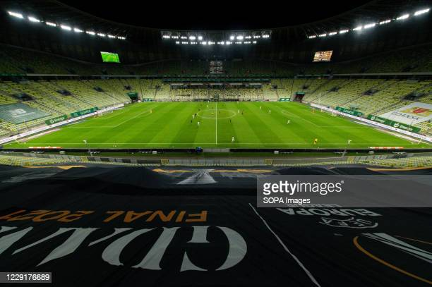 View of an empty stadium because of covid-19 pandemic limitations during the Polish Ekstraklasa match between Lechia Gdansk and Pogon Szczecin. .
