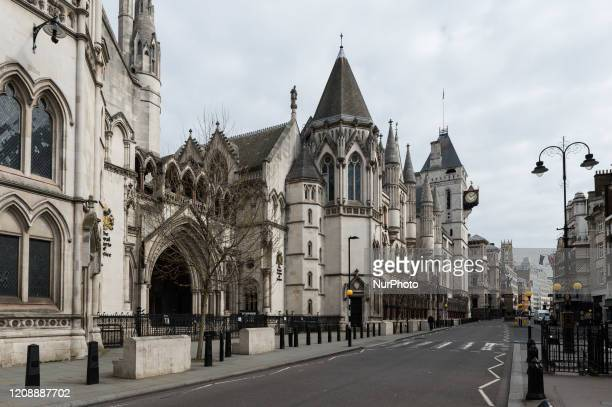 View of an empty Strand outside Royal Courts of Justice in central London as the UK's nationwide lockdown continues for a second week in the fight...
