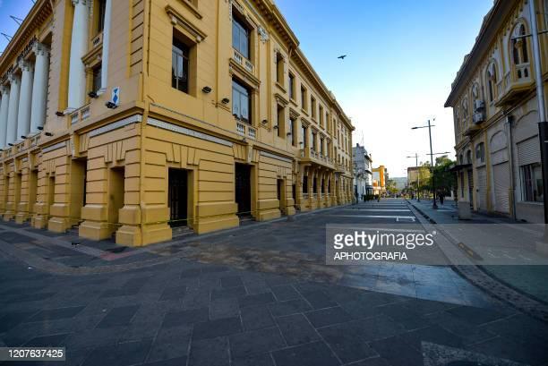 View of an empty street as San Salvador's municipal police shut down part of San Salvador's historical center on March 18 2020 in San Salvador El...