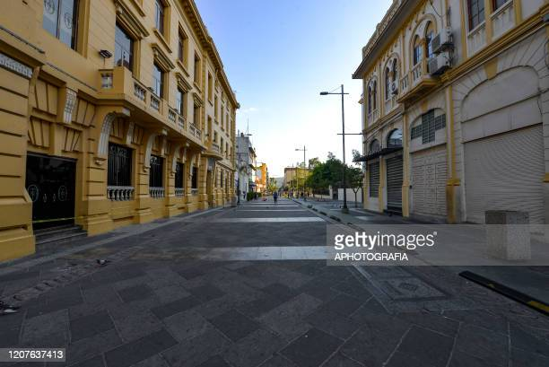 View of an empty street as San Salvador's municipal police shuts down part of San Salvador's historical center on March 18 2020 in San Salvador El...