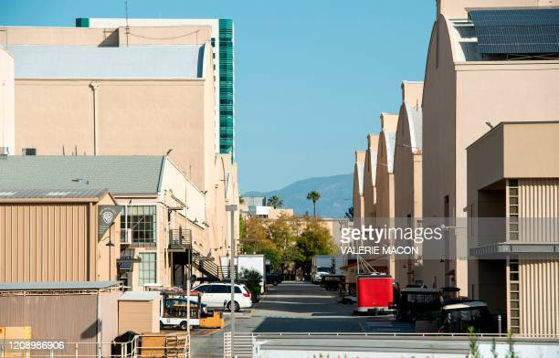 View of an empty street between sets in Warner Bros lot during the Covid 19 crisis April 2 in North Hollywood California