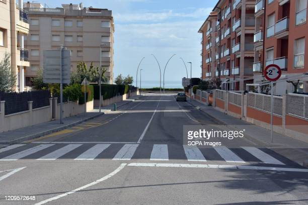 A view of an empty street in Calafell After the state of alarm and the confinement of people in their homes due to the worldwide outbreak of the...