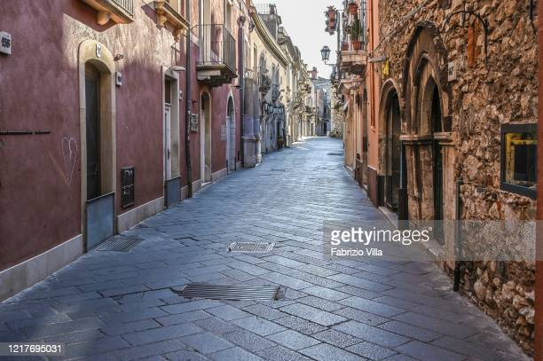 View of an empty street in the city center after government restrictions to avoid spread of Covid19 on April 08 2020 in Taormina Italy There have...