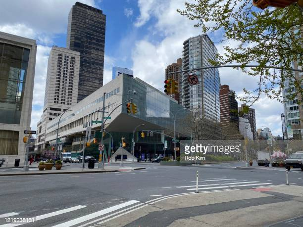 A view of an empty street overlooking Alice Tully Hall during the coronavirus pandemic on April 16 2020 in New York City ShelterinPlace and social...