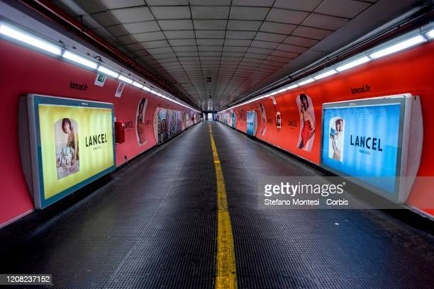 View of an empty subway tunnel leading to the Spanish Steps during the emergency to stop the spread of the coronavirus on March 25 2020 in Rome Italy...