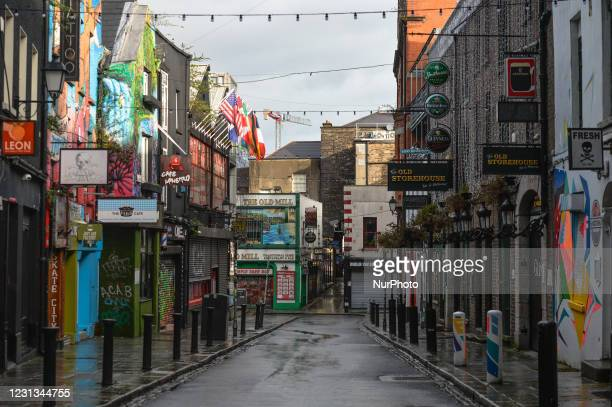 View of an empty Temple Bar area in Dublin city center during Level Five Covid-19 lockdown. The Taoiseach Micheal Martin has just confirmed the...