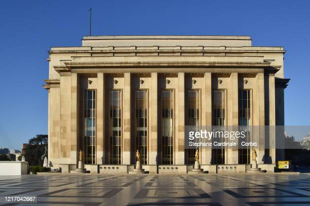 View of an empty Trocadero square and the Palais de Chaillot on April 05, 2020 in Paris, France. France is issuing fines for people caught violating...