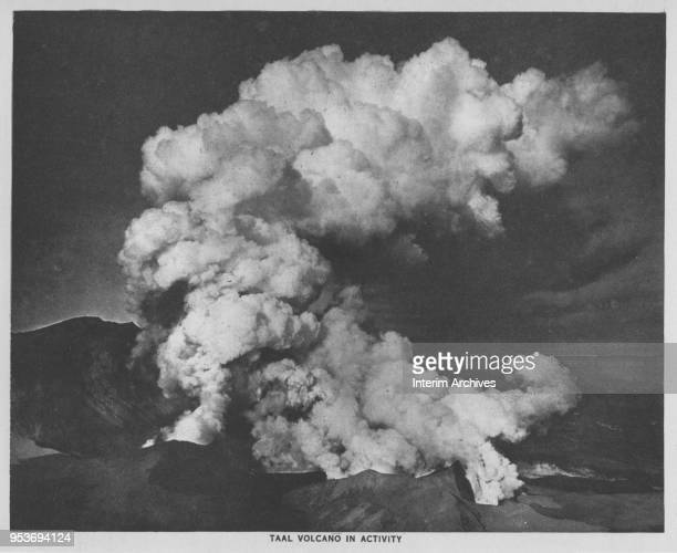 View of an eruption by Taal Volcano in Taal Lake Luzon Philippines January 29 1911