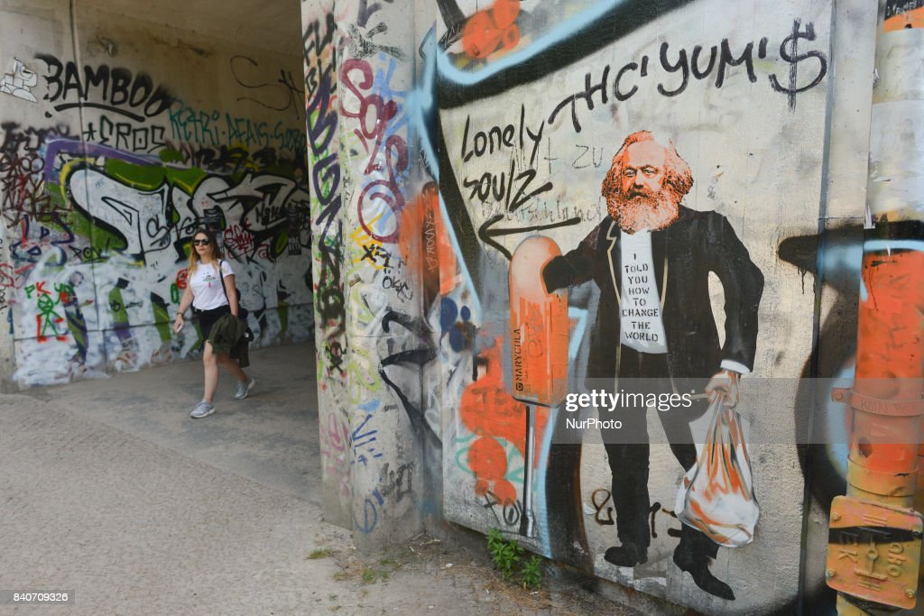 A view of an example of Berlin street art with graffiti of Karl Marx. On Tuesday, August 29, 2017, in Berlin, Germany.