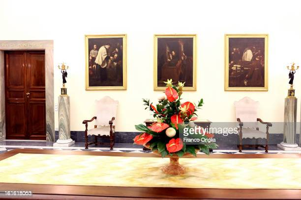 A view of an hallway of the Vatican Secretary of State at the Apostolic Palace on October 29 2012 in Vatican City Vatican Pope Sixtus V built the...