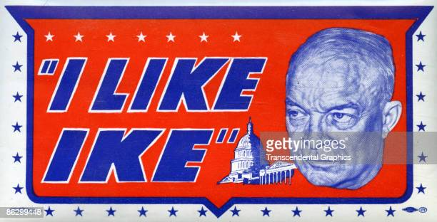 """View of an """"I Like Ike"""" water decal from the presidential campaign, showing a close-up portrait of the popular war hero General Dwight D. Eisenhower,..."""
