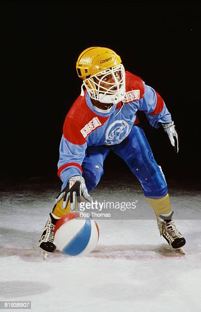 View of an ice ball player in full kit Sheffield 1st February 1989