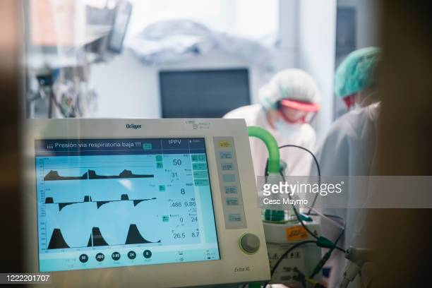 A view of an ICU respirator that indicates a low respiratory level in a ward of the Clinic Hospital on April 27 2020 in Barcelona Spain Spain has had...
