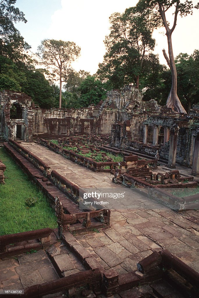 View of an interior courtyard and causeway in the Preah Khan temple in the ancient Angkor temple complex. .