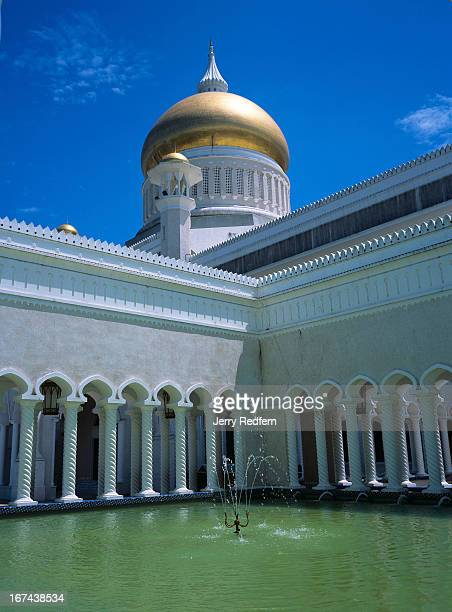 View of an interior pool in the Sultan Omar Ali Saifuddin Mosque finished in 1958 and the main dome is reportedly covered in real gold It is visible...