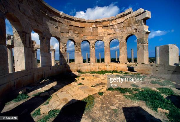 View of an interior tabernae at the marketplace where sellers displayed their wares on limestone tables part of the ruins of Leptis Magna the largest...