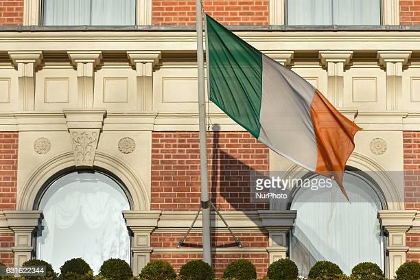 A view of an Irish flag outside the Shelbourne Hotelin Dublin On Friday 13 January 2017 Dublin Ireland