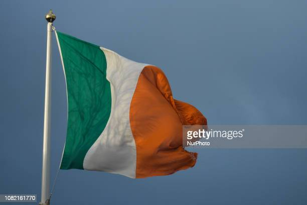 A view of an Irish flag seen from Irishtown Dublin In two days a historic vote on Prime Minister Theresa May's Brexit deal will take place in London...