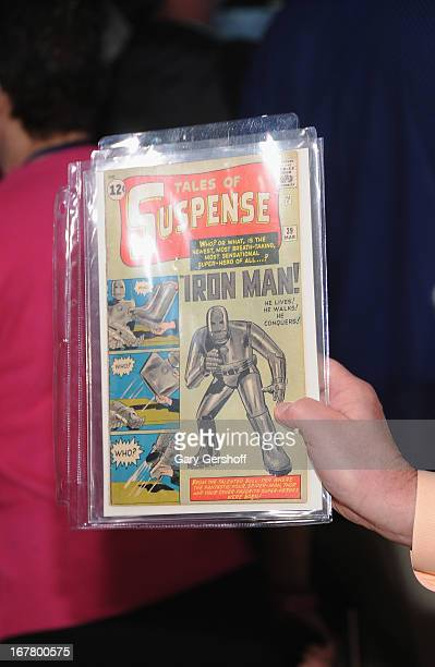 A view of an Iron Man first edition copy owned by Bob Pisani of CNBC at the New York Stock Exchange on April 30 2013 in New York City
