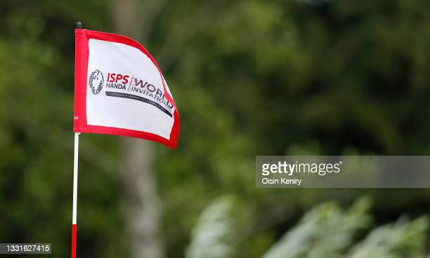 View of an ISPS Handa flag during Day Three of The ISPS HANDA World Invitational at Galgorm Spa & Golf Resort on July 31, 2021 in Ballymena, Northern...