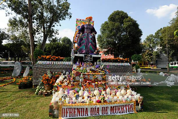 A view of an offering during the Day of the Dead celebration known in spanish as Dia de los Muertos on November 01 2016 in Xochimilco Mexico The...