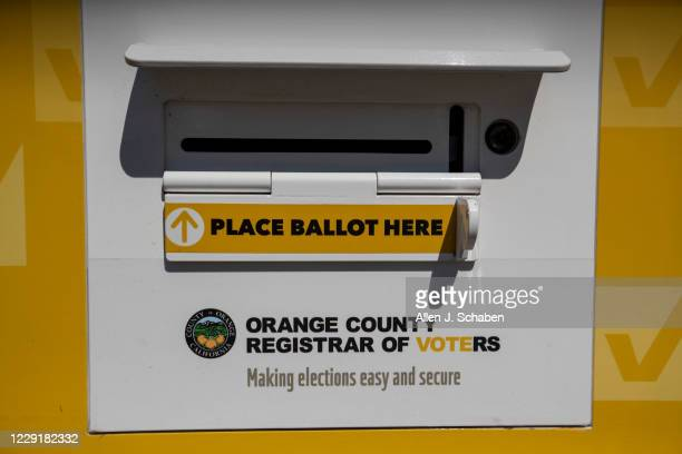 View of an official Orange County Registrar of Voters ballot Drop Box for the 2020 Presidential General Election at Memorial Park in Santa Ana on...