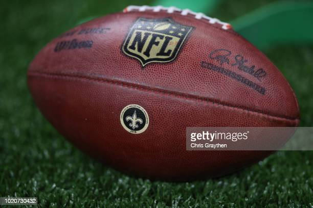 A view of an official Wilson Sporting Goods The Duke football with a New Orleans Saints team logo is seen at MercedesBenz Superdome on August 17 2018...