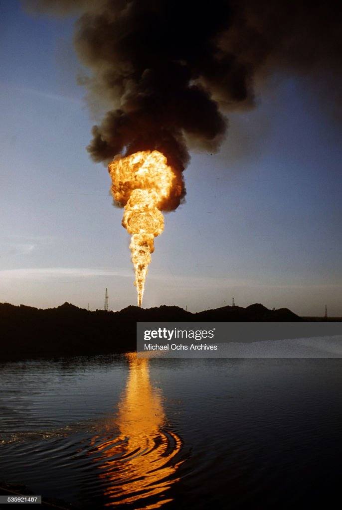 A view of an oil - well fire in Texas.