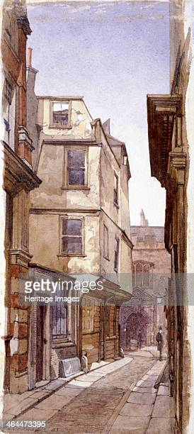 View of an old jettied building in Great St Helens London 1883 said to have been occupied by Anne Boleyn's father Sir Thomas Boleyn