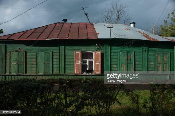 View of an Old wooden house on Kronshtadskaya street.
