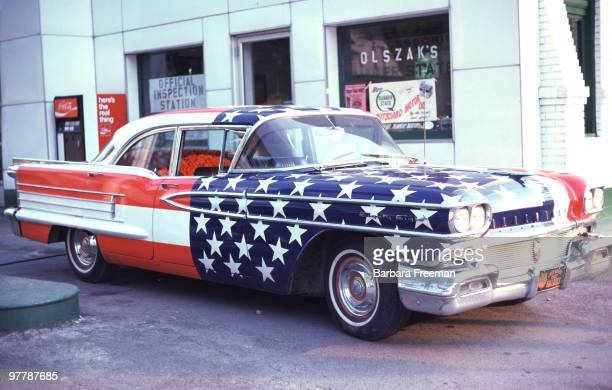 View of an Oldsmobile 88 painted with stars and stripes 1976 in celebration of the United States' bicentennial anniversary Pennsylvania 1976