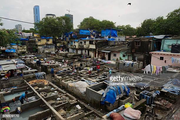 A view of an openair laundromat near Cuffe Parade in South Mumbai
