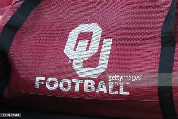 View of an OU equipment bag before a Big 12 football game between the Oklahoma Sooners and Kansas State Wildcats on October 26, 2019 at Bill Snyder...