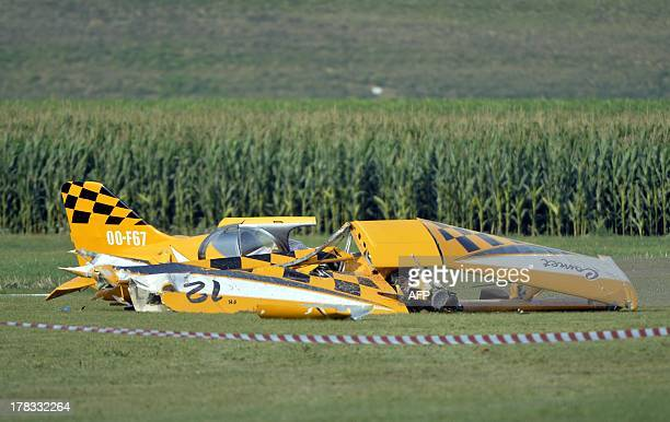A view of an ultralight aviation plane which crashed in CrasAvernas Hannut on August 29 in Belgium The pilot was killed in the crash AFP PHOTO /...