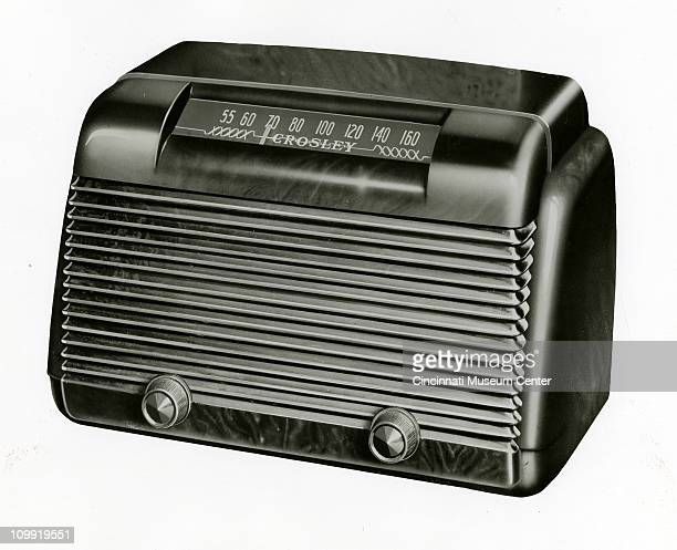 View of an unspecified model of a Crosley brand radio against a white background Cincinnati Ohio late 1940s