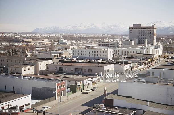 A view of Anchorage from the Captain Cook Hotel April 1970