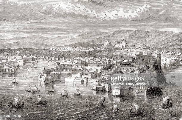 A view of ancient Athens Greece from Piraeus From Ward and Lock's Illustrated History of the World published c1882
